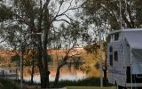 Powered site at Loxton Caravan Park with river views